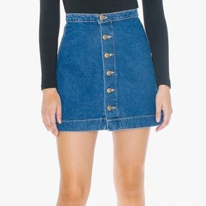 American Apparel Denim Button Front Mini Skirt